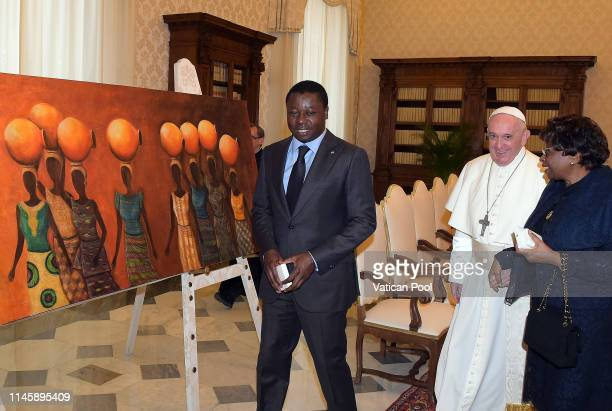 Pope Francis meets with President of Togo Faure Essozimna Gnassingbe and his mother Sabine Mensah during an audience at the Apostolic Palace on April...