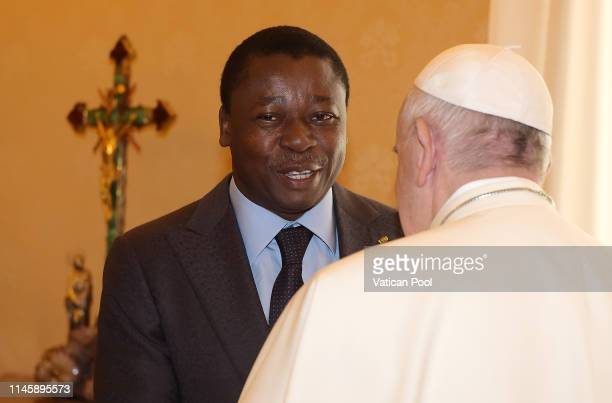 Pope Francis meets with President of Togo Faure Essozimna Gnassingbe during an audience at the Apostolic Palace on April 29 2019 in Vatican City...