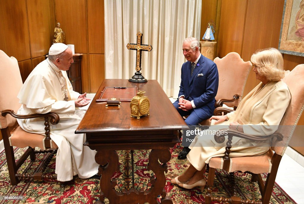 Pope Francis meets with Prince Charles, Prince of Wales and Camilla, Duchess of Cornwall on April 4, 2017 in Vatican City, Vatican.