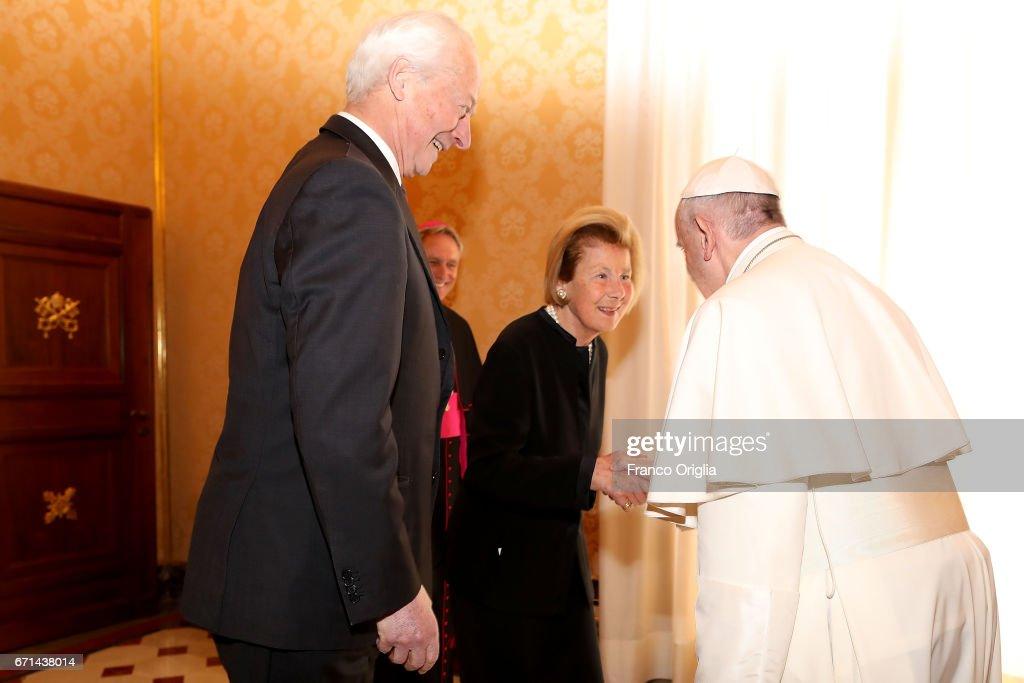 Pope Meets Royals Of Liechtenstein : News Photo