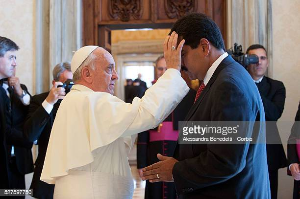 Pope Francis meets with the President of Venezuela SE Mr Nicolas Maduro during a private audience at the VaticanPhoto by Giancarlo Giuliani/Vatican...