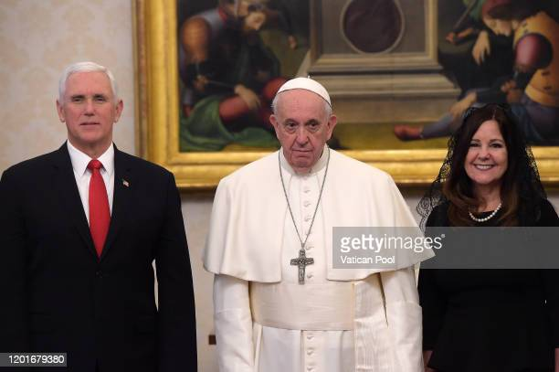 Pope Francis meets with the US Vice President Mike Pence and his wife Karen during a private audience at the Apostolic Palace on January 24, 2020 in...