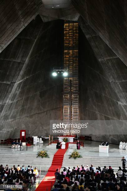Pope Francis meets with wellwishers at the St Mary's Cathedral in Tokyo on November 25 2019 Pope Francis called for renewed efforts to help victims...