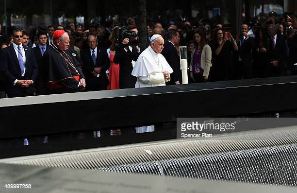 Pope Francis pauses during a visit to Ground Zero on September 25 2015 in New York City Francis visited Ground Zero following his address at the...