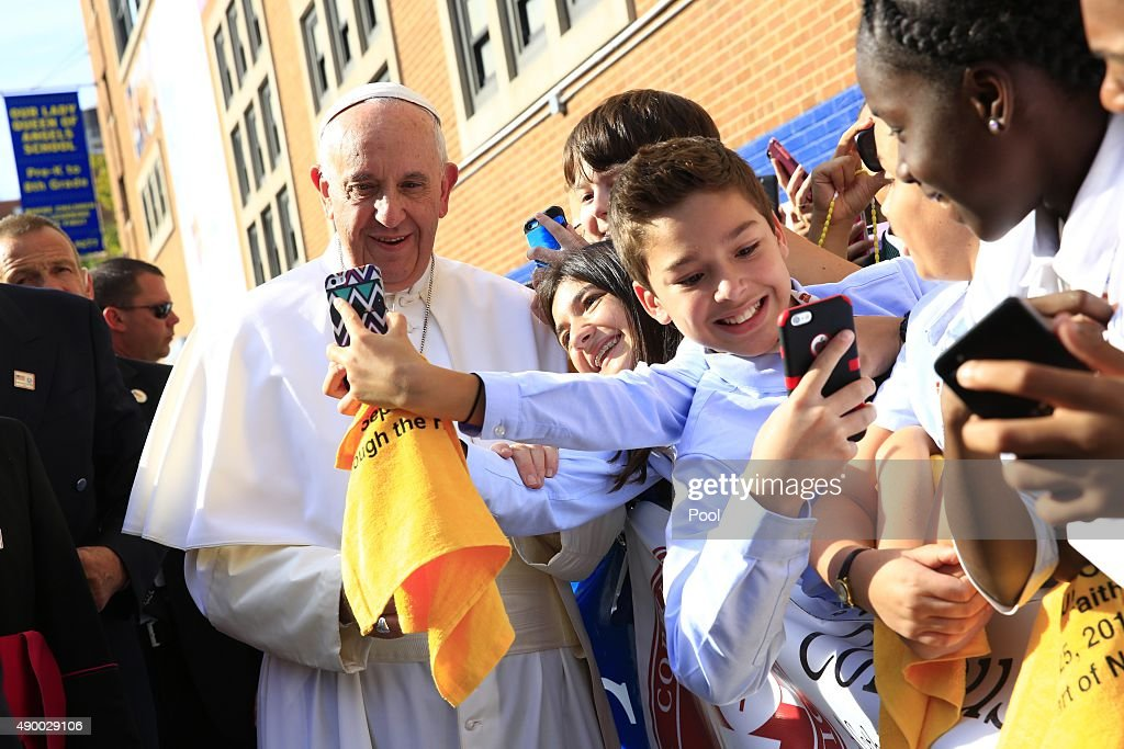 Pope Francis Visits Our Lady Queen Of Angels In Harlem : News Photo
