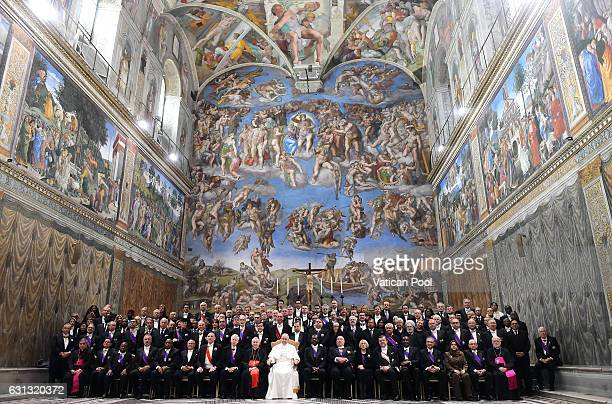 Pope Francis poses with accredited ambassadors to the Holy See at the Sistine Chapel 'Cappella Sistina' on January 9 2017 in Vatican City Vatican As...