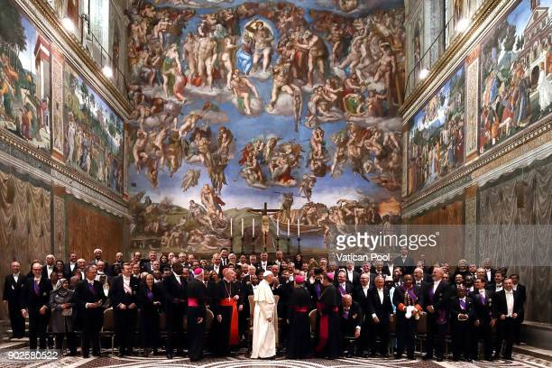 Pope Francis poses with accredited ambassadors to the Holy See at the Sistine Chapel 'Cappella Sistina' on January 8 2018 in Vatican City Vatican
