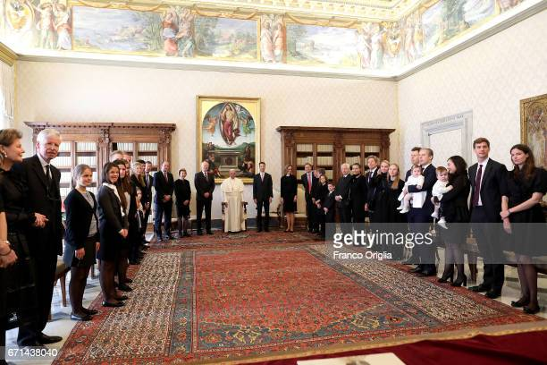 Pope Francis poses with Prince HansAdam of Liechtenstein his wife Princess Marie and Hereditary Prince Alois of Liechtenstein and his wife Princess...