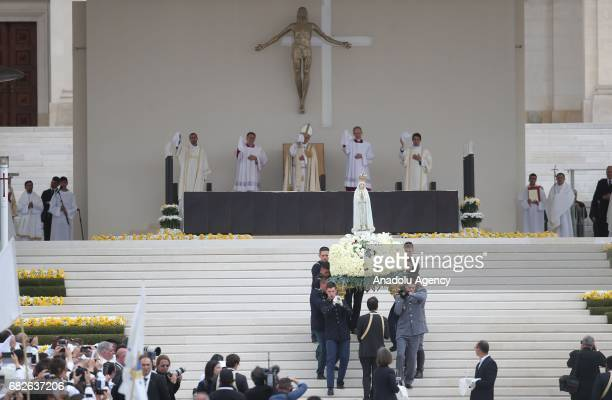Pope Francis prays at the Sanctuary of Our Lady of Fatima Friday May 13 in Fatima Portugal