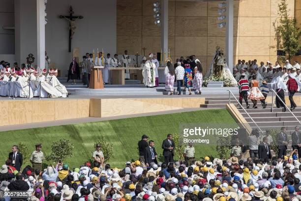 Pope Francis prays over a group of Rapa Nui people during a mass at O'Higgins Park in Santiago Chile on Tuesday Jan 16 2018 400000 Chileans attended...