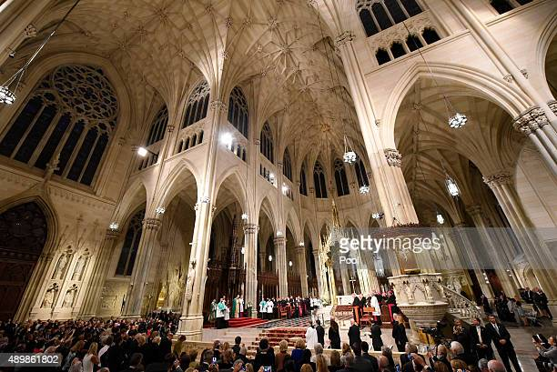Pope Francis prepares to lead evening Vespers at Saint Patrick's Cathedral on September 24 2015 in New York City The pope is on a sixday visit to the...
