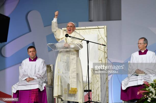 Pope Francis presides over an evening vigil with young people at the Campo San Juan Pablo II in Panama City on January 26 2019 Pope Francis will meet...