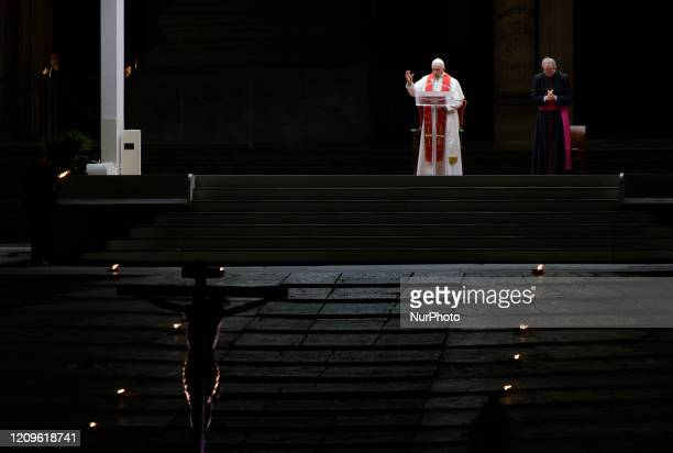 Pope Francis presides over the Via Crucis or Way of the Cross ceremony in St. Peter's Square empty of the faithful following Italy's ban on...