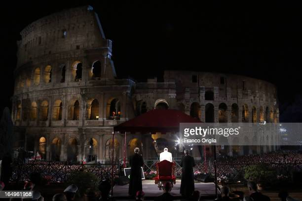 Pope Francis presides over the Way of The Cross procession at the Colosseum on Good Friday March 29 2013 in Rome Italy Pope Francis is taking part in...