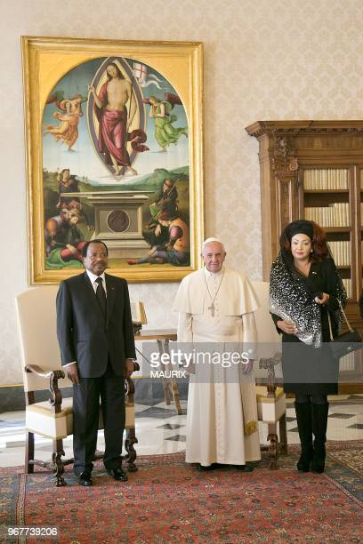 Pope Francis received the president of Cameroon president Paul Biya and his wife Chantal on October 18 2013 at the Vatican