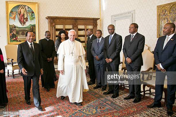 Pope Francis receives in audience Cameroon President Paul Biya his wife Chantal Biya and his delegation at Vatican Apostolic Palace on October 18...