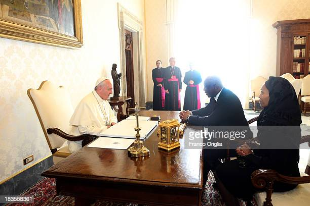 Pope Francis receives in audience the King of Lesotho Letsie III and the Queen Masenate Mohato Seeiso on October 7, 2013 in Vatican City, Vatican....