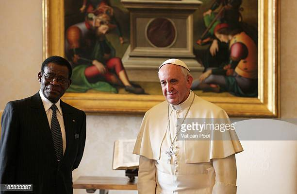 Pope Francis receives in audience the President of the Republic of Equatorial Guinea, Teodoro Obiang Nguema Mbasogo at his private studio on October...