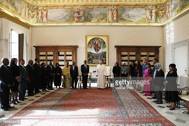 Pope Francis receives in audience the President of the Republic of Equatorial Guinea, Teodoro Obiang Nguema Mbasogo, his wife Constancia Mangue Nsue...