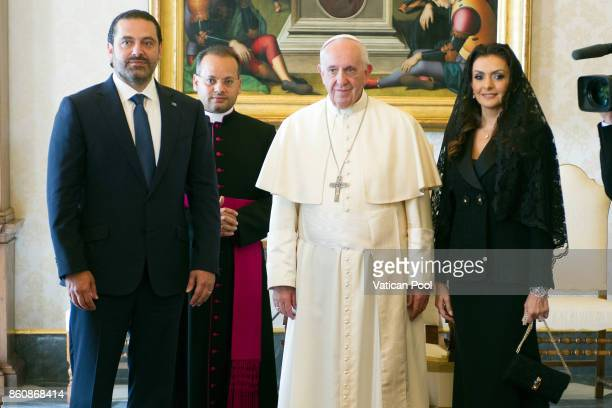 Pope Francis receives Lebanon Prime Minister Saad Hariri and his wife Lara Bashir El Alzem in a private audience at the Apostolic Palace on October...
