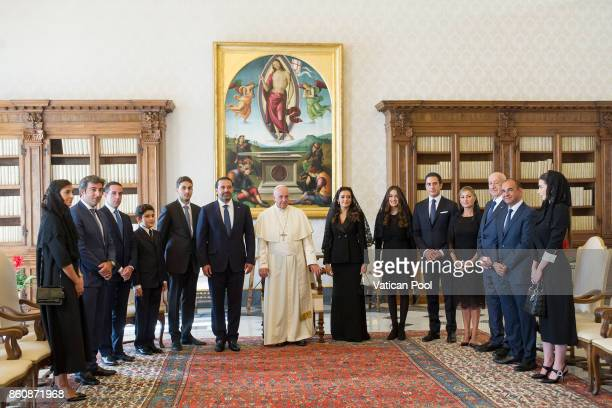 Pope Francis receives Lebanon Prime Minister Saad Hariri his wife Lara Bashir El Alzem and his delegation in a private audience at the Apostolic...