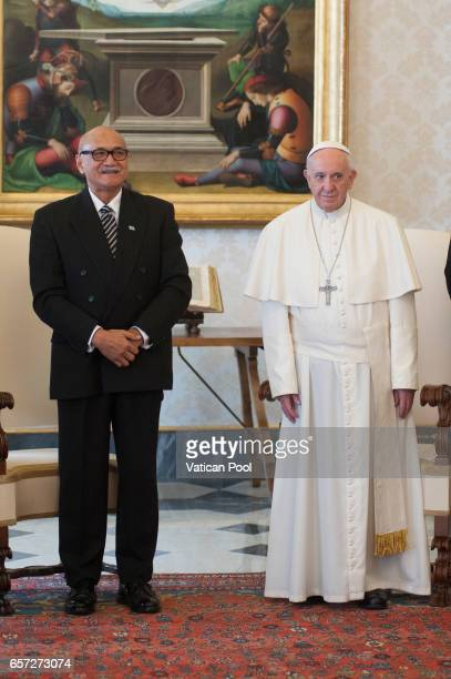 Pope Francis receives President of Fiji Jioji Konousi Konrotea in a private audience at the Apostolic Palace on March 24 2017 in Vatican City Vatican...