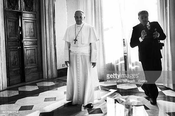 Pope Francis receives President of Panama Ricardo Alberto Martinelli Berrocal at the Vatican Apostolic Palace on October 25 2013