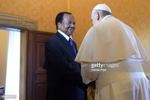 Pope Francis receives President of the Republic of Cameroon, Paul Biya in a private audience at the Apostolic Palace on March 23, 2017 in Vatican...