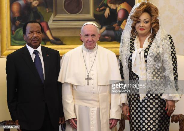 Pope Francis receives President of the Republic of Cameroon Paul Biya and his wife Chantal Biya in a private audience at the Apostolic Palace on...