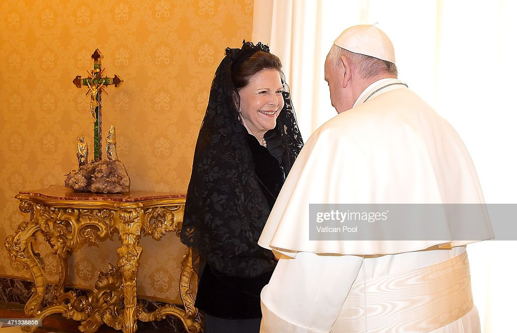 Pope Francis receives Queen Silvia of Sweden during a private audience at the Apostolic Palace on April 27, 2015 in Vatican City, Vatican. In the afternoon the Queen will attend a meeting on the theme of human trafficking at the Vatican.
