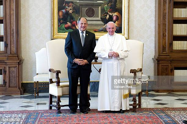 Pope Francis receives the President of Costa Rica Luis Guillermo Sols Rivera in a private audience at the Apostolic Palace on May 27 2016 in Vatican...