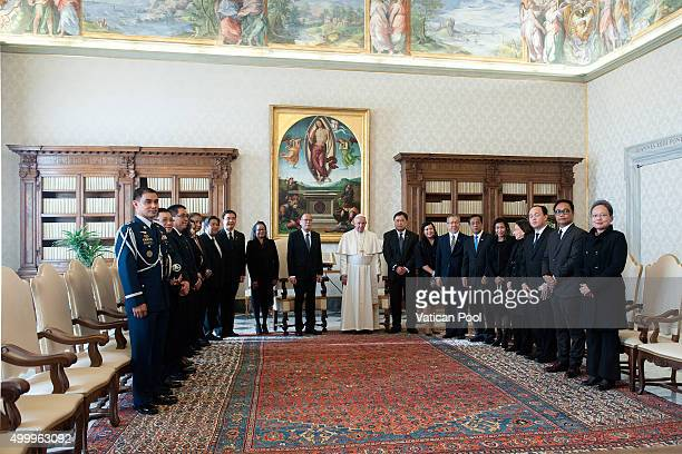 Pope Francis receives the President of the PhilippinesÊBenigno S Aquino III and his delegation at the Apostolic Palace on December 4 2015 in Vatican...