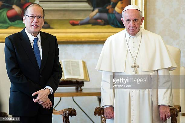 Pope Francis receives the President of the PhilippinesÊBenigno S Aquino III at the Apostolic Palace on December 4 2015 in Vatican City Vatican During...