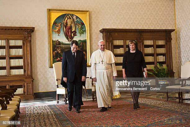 Pope Francis receives the President of the Republic of Cyprus Nicos Anastasiades at the Apostolic Palace on February 15 2014 in Vatican City Vatican...