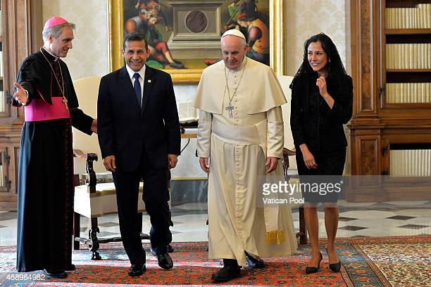 Pope Francis receives the President of the Republic of Peru Ollanta Moises Humala Tasso and wife Nadine Heredia Alarcon at the Apostolic Palace on...