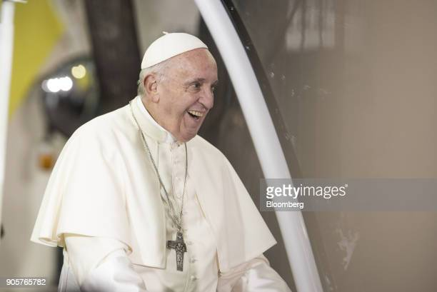 Pope Francis smiles at supporters outside the Vatican Apostolic Nunciature in Santiago Chile on Monday Jan 15 2018 400000 Chileans attended Pope...