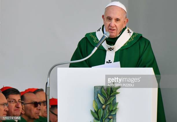 Pope Francis speaks as he celebrates an outdoors mass during a visit to Bari southern Italy on February 23 2020 to address a conference entitled...