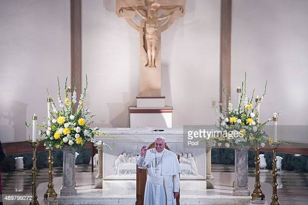 Pope Francis speaks at St Patrick's Catholic Church September 24 2015 in Washington DC The Pope is on his first trip to the United States visiting...