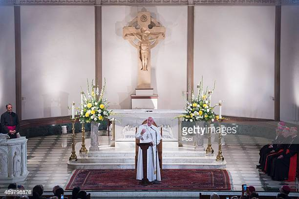 Pope Francis speaks at St Patrick's Church on September 24 2015 in Washington DC Pope Francis is on a fiveday trip to the United States which...
