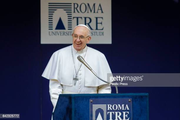 Pope Francis speaks at the Roma Tre University one of Rome's three state run universities during his first visit in Rome Italy Pope Francis answered...