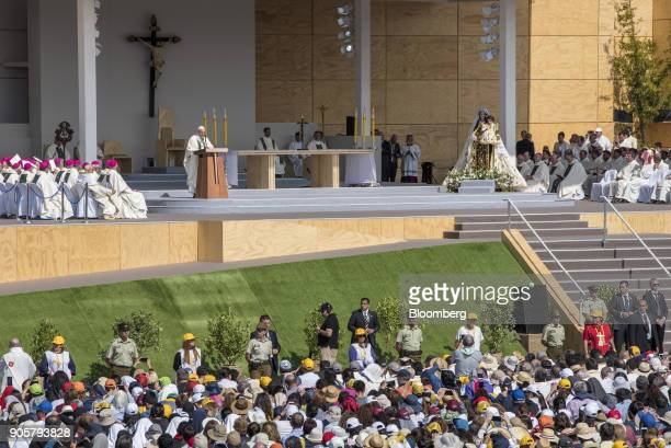 Pope Francis speaks during mass at O'Higgins Park in Santiago Chile on Tuesday Jan 16 2018 400000 Chileans attended Pope Francis' public mass in...