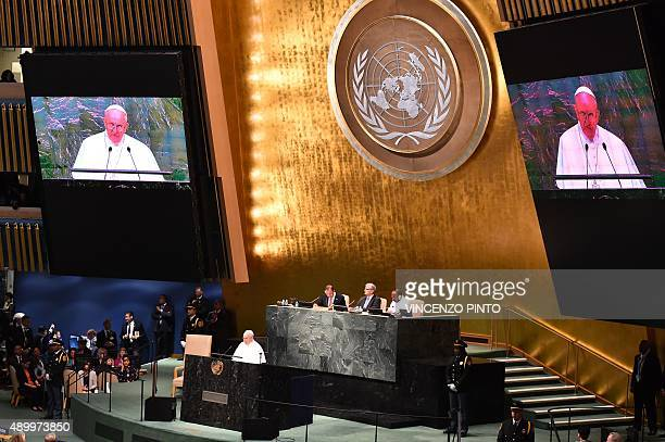 Pope Francis speaks during the 70th session of the United Nations General Assembly on September 25 at the United Nations in New York AFP PHOTO /...