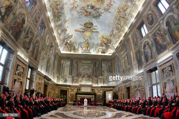 Pope Francis speaks during the audience of the Curia the administrative apparatus of the Holy See for Christmas greetings in the Sala Clementina of...