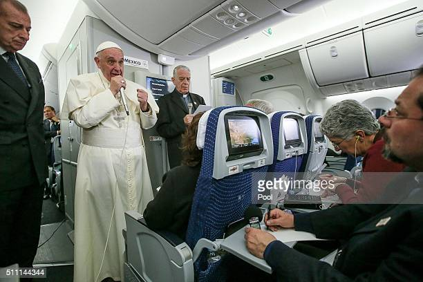 Pope Francis speaks to journalists aboard the flight from Mexico to Italy on February 18 2016 Pope Francis left Rome on February 11 2016 bound for...