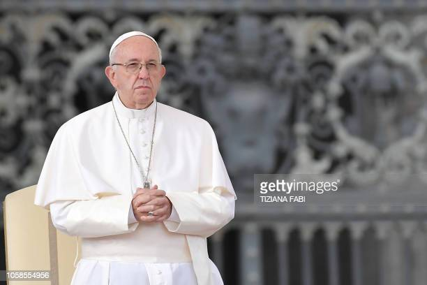 Pope Francis stands during the weekly general audience on November 7, 2018 at St. Peter's square in the Vatican.