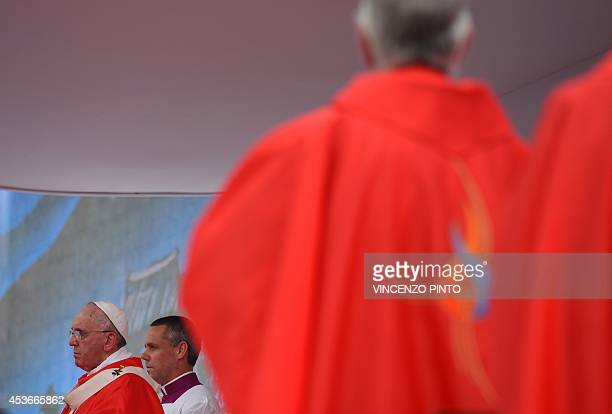 Pope Francis takes part in a beatification mass at Gwanghwamun Square in central Seoul on August 16 2014 Pope Francis beatified 124 early Korean...