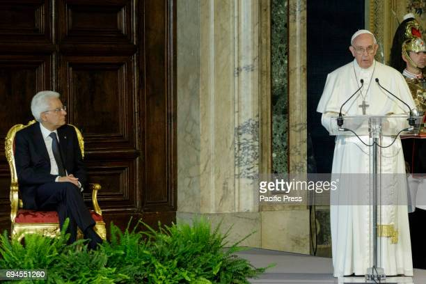 Pope Francis talks during an official visit to the President of the Italian Republic Sergio Mattarella at the Quirinale Palace in Rome Italy on June...