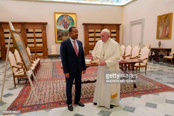 Pope Francis talks with Ethiopian Prime Minister Abiy Ahmed during a private audience at the Vatican on January 21, 2019.