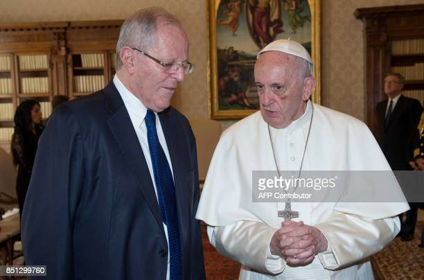 Pope Francis talks with Peruvian President Pedro Pablo Kuczynski during a private audience at the Vatican on September 22 2017 ONORATI