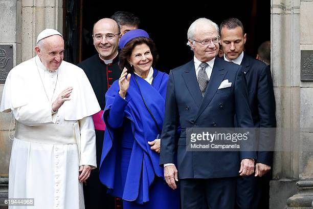 Pope Francis Vatican Prelate Secretary of the Secretariat for the Economy Alfred Xuereb Queen Silvia of Sweden and King Carl XVI Gustaf of Sweden...